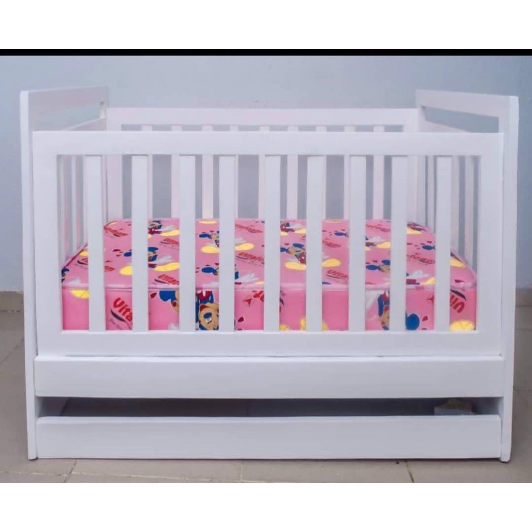 White Baby Crib With Mattress - Cuddlecircle