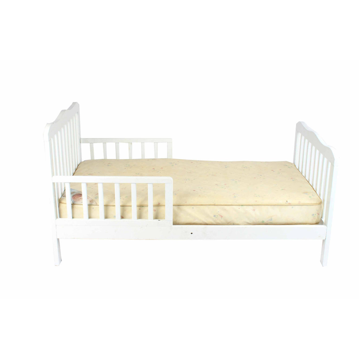 Toddler White Crib with Mattress - Cuddlecircle