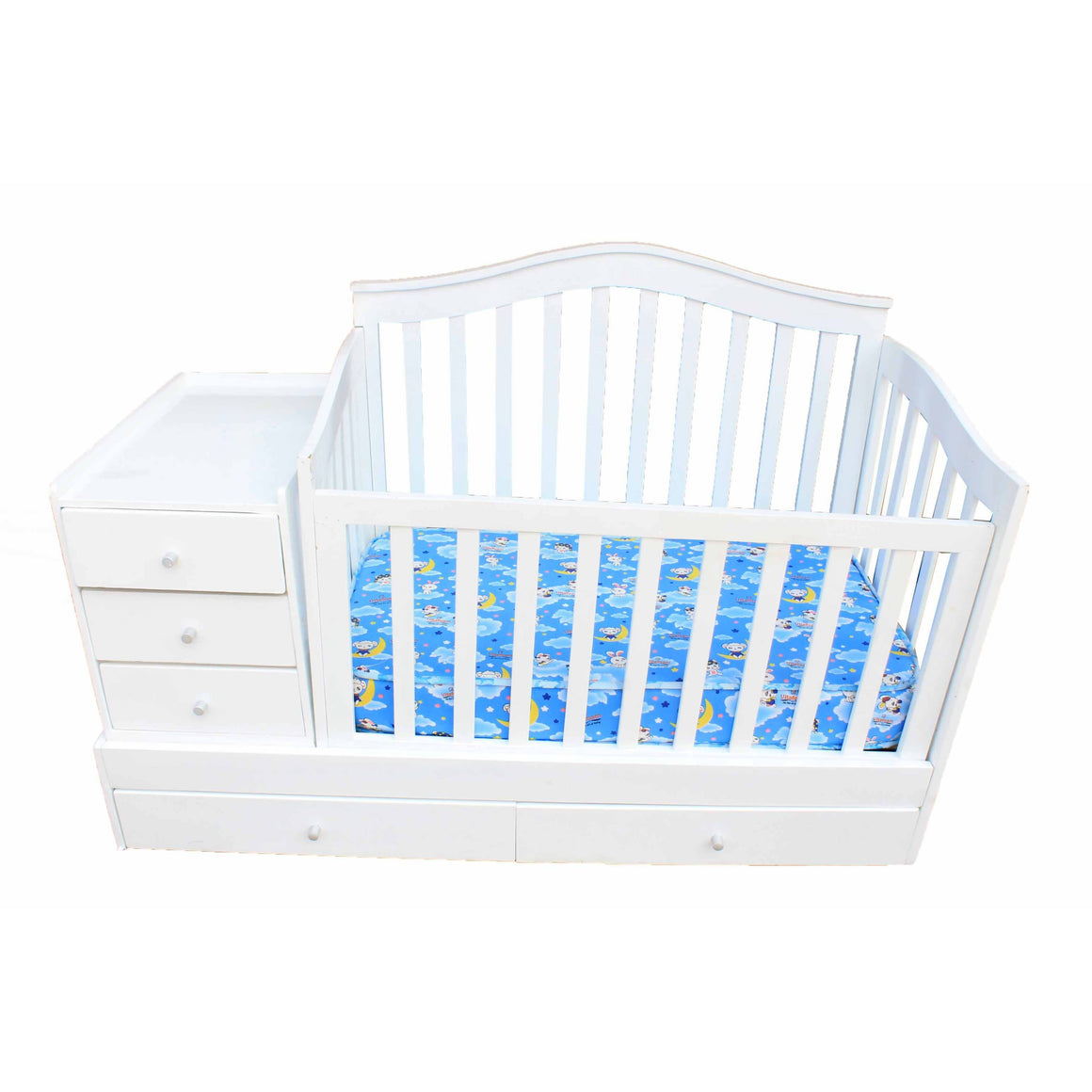 White Baby Crib With Drawers & Mattress
