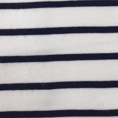 Bamboo Single Jersey (White x Navy striped)
