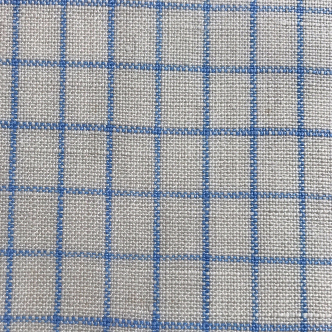 Organic Linen (White, Blue Checked)