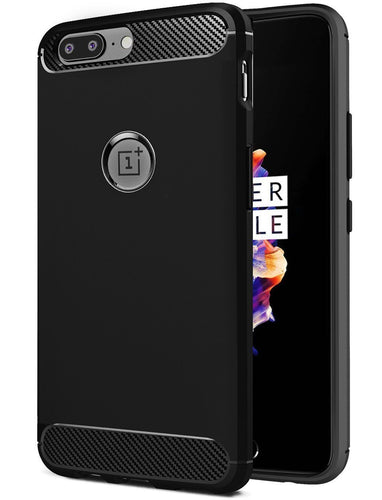 Chevron Carbon Fibre Back Cover Case For OnePlus 5 [With Logo Cut - Out]