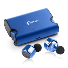 Chevron Truly Wireless Bluetooth v4.2 Earphones With Deep Bass Stereo Sound, Charging Box And Handsfree Mic (Royal Blue)