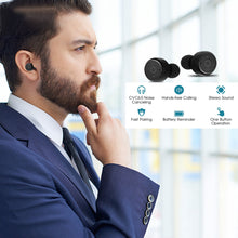 Chevron Wireless Bluetooth v4.2 Earphones with Deep Bass Stereo Sound, Charging Box & mic (Navy)