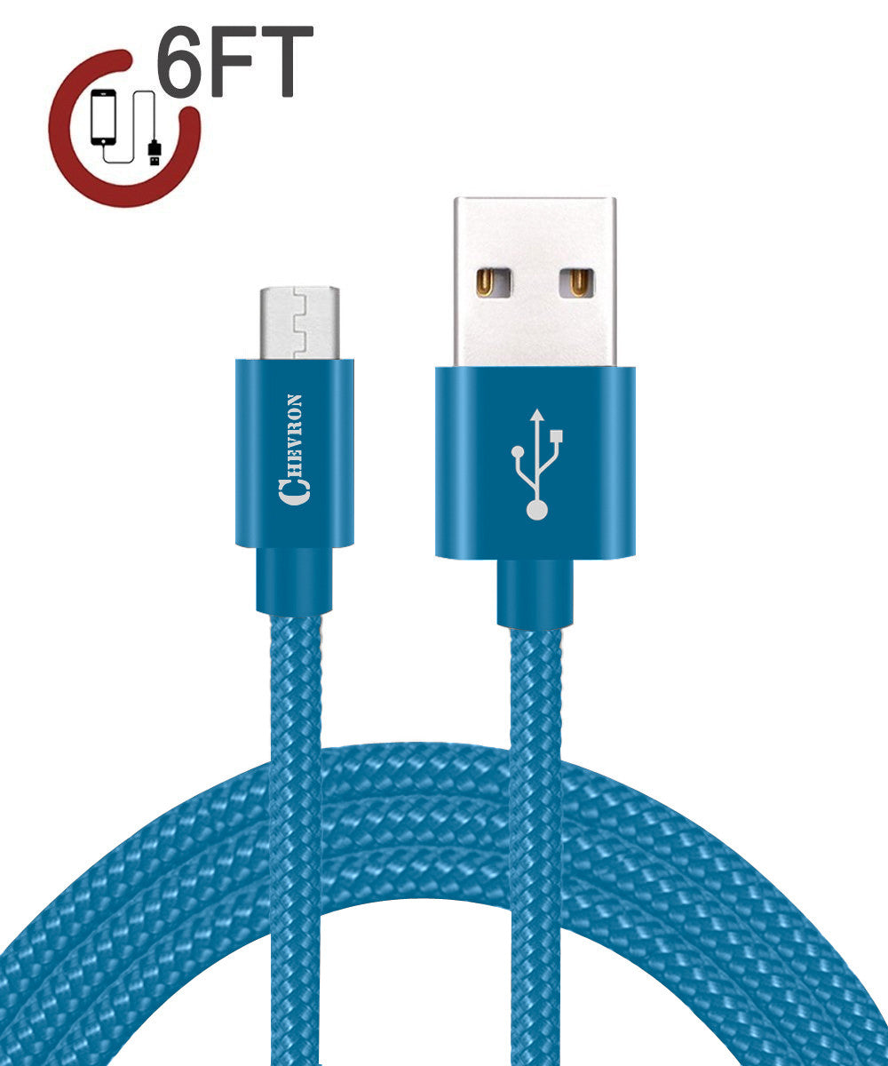 Chevron 2.4A Fast Charge Micro USB 6 Feet Braided Data Cable For All ...