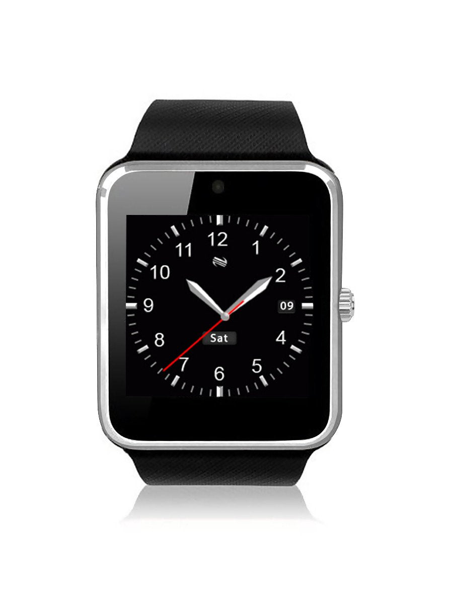 GT 08 Bluetooth Smart Watch with Sim Card Slot and Camera-Black with Silver