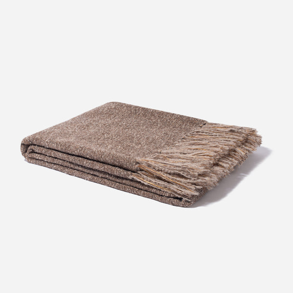 Alpaca with Lurex Throw Brown