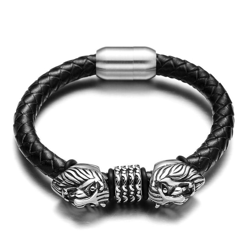Freya's Cats™ - Stainless Steel Leather Viking Bracelet