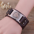 Valknut Spirit™ - Leather Viking Bracelet with Valknut Emblem
