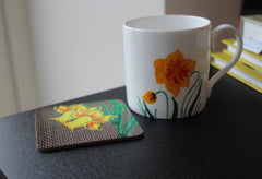 Daffodil china mug and coaster