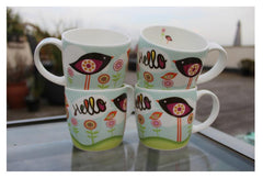 Hudson & Middleton Fine Bone China Mugs - Valentina Range Hello (Set of 4)