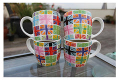 Hudson & Middleton Fine Bone China Mugs - Colourful Union Jack Flags (Set of 4)