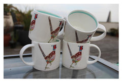 Hudson & Middleton Fine Bone China Mugs - DM Collection Pheasant (Set of 4)