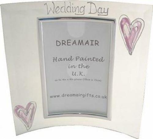 Wedding Day Photo Frame Port Silver/Lilac Hearts