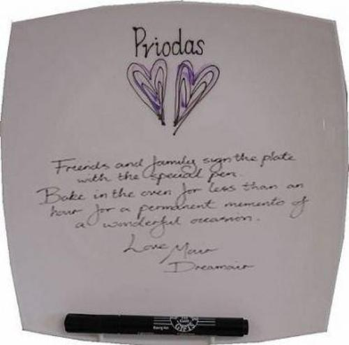 Personalised Welsh (Priodas) Wedding Day Plate Square (Silver/Lilac Hearts)