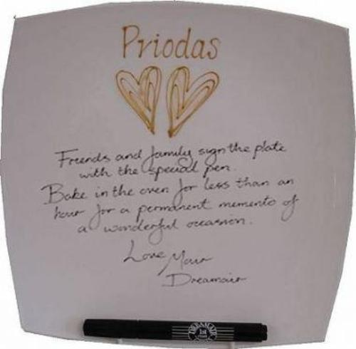 Personalised Welsh (Priodas) Wedding Day Plate Square (Gold Hearts)
