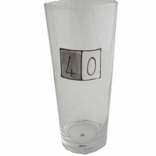 40th Birthday Pint Glass Grey Sq
