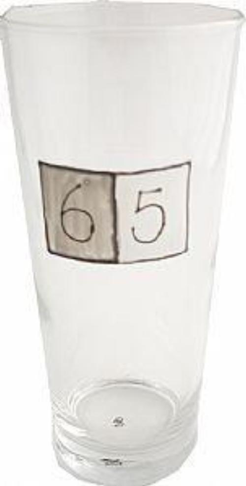 65th Birthday Pint Glass Grey Sq