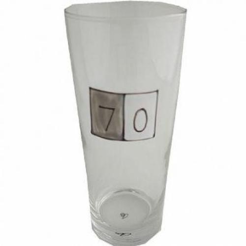 70th Birthday Pint Glass Grey Sq