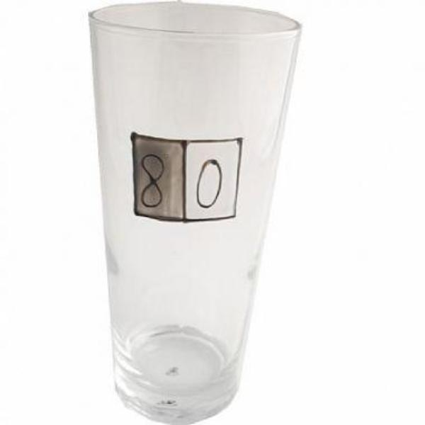 80th Birthday Pint Glass Grey Sq