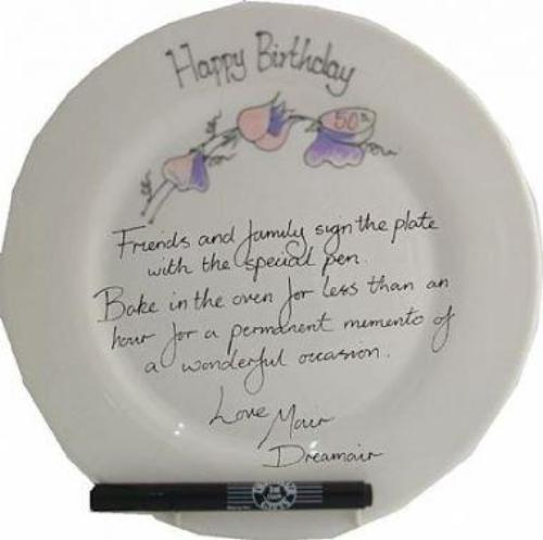 50th Birthday Gift Square Plate Sweet Pea