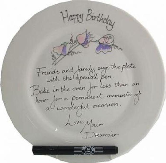 70th Birthday Gift Square Plate Sweet Pea