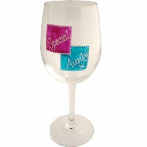 Special Aunty Gift Wine Glass: (Mag/Teal)