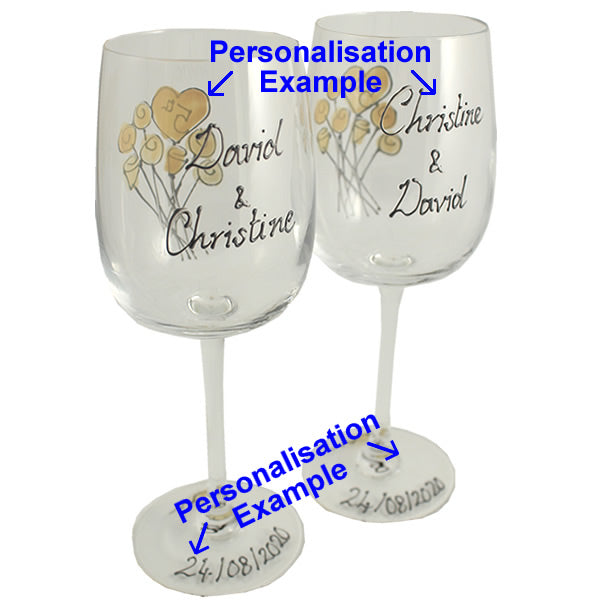 Personalised 5th Wedding Anniversary Wine Glasses Flower