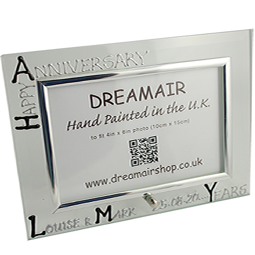 Cornice Foto 4° Anniversario - 4th Anniversary Photo Frame Land (Blk/Sil)