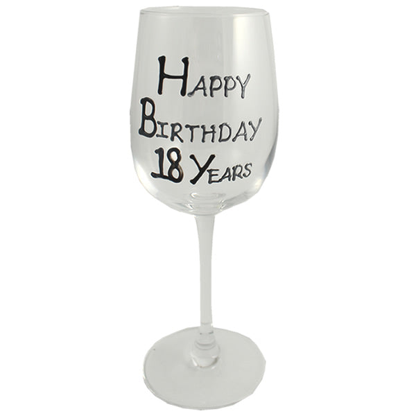 18th Birthday Wine Glass Blk/Sil