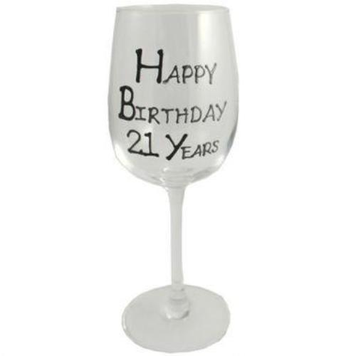 21st Birthday Wine Glass Blk/Sil