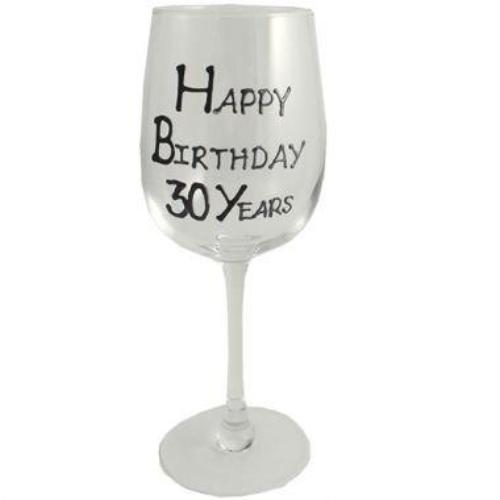 30th Birthday Wine Glass Blk/Sil