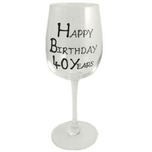 40th Birthday Wine Glass Blk/Sil