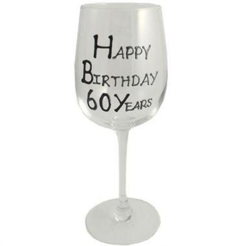 60th Birthday Wine Glass Blk/Sil