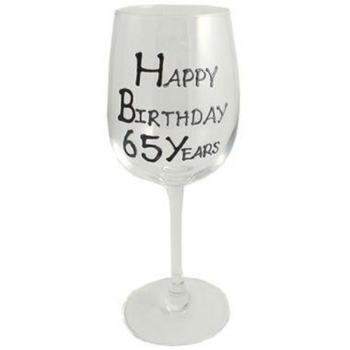 65th Birthday Wine Glass Blk/Sil