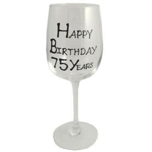 75th Birthday Wine Glass Blk/Sil