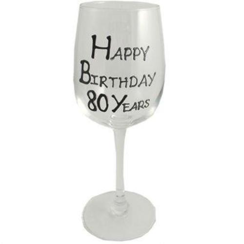 80th Birthday Wine Glass Blk/Sil