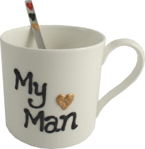 My Man China Mug & Spoon Gift Set