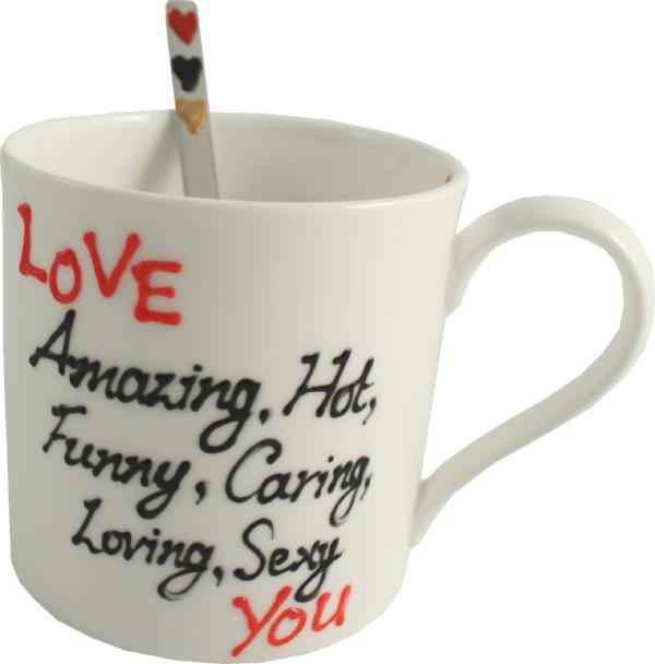 Love You China Mug & Spoon Gift Set