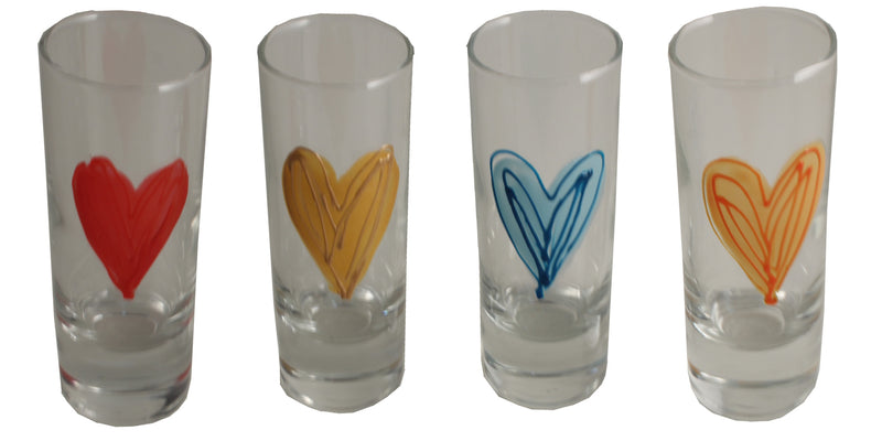 Heart Design Gift Shot Glass: (Orange)