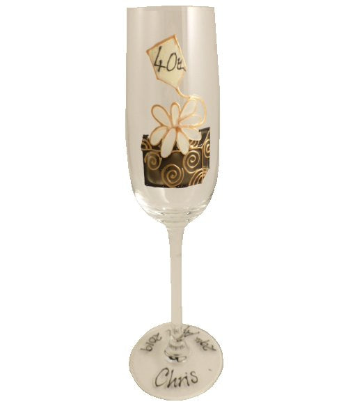 Personalised 40th Birthday Champagne Glass Birthday Box