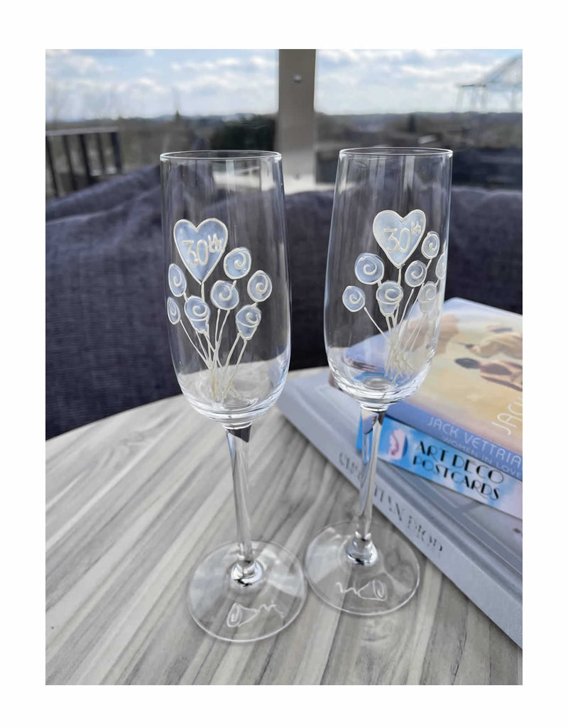 30th Wedding Anniversary Champagne Glasses Flower