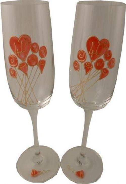 40th Wedding Anniversary Champagne Glasses Flower