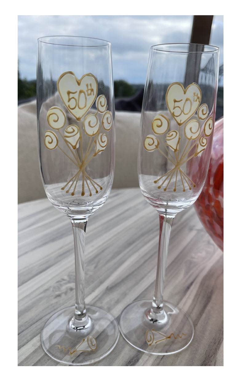 50th Wedding Anniversary Champagne Glasses Flower