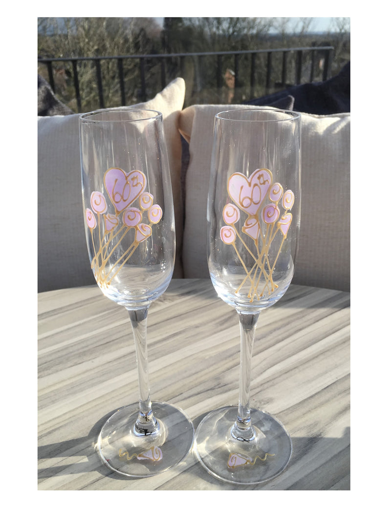 60th Anniversary Champagne Fluted Glasses