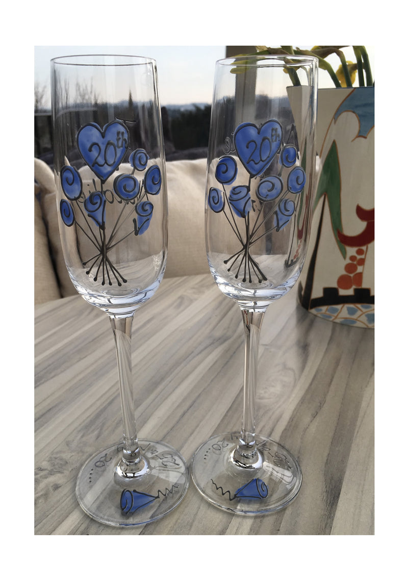 20th Anniversary Fluted Glasses Flower