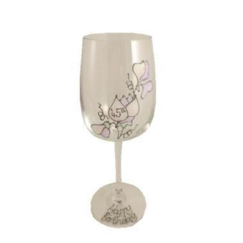 45th Birthday Wine Glass Sweet Pea