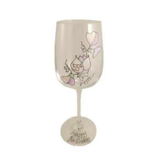 55th Birthday Wine Glass Sweet Pea