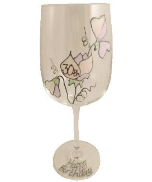 30th Birthday Wine Glass Sweet Pea