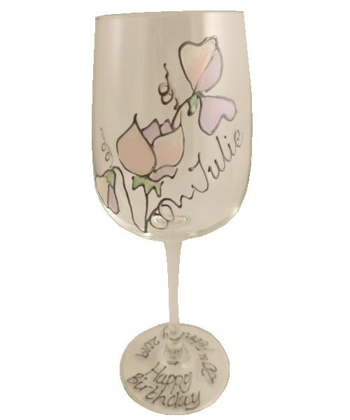 Personalised Wine Glass Sweet Pea